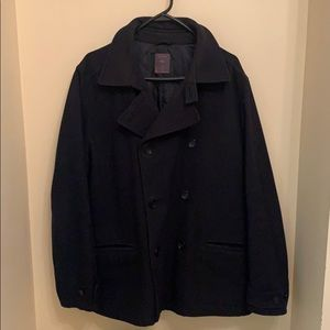GAP Men's XL Navy Blue Wool-Blend Peacoat